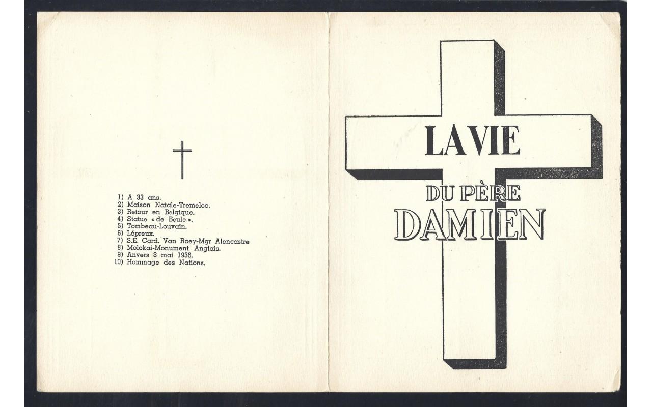 Díptico Bélgica con colección viñetas Padre Damián  Otros Europa - Desde 1950.